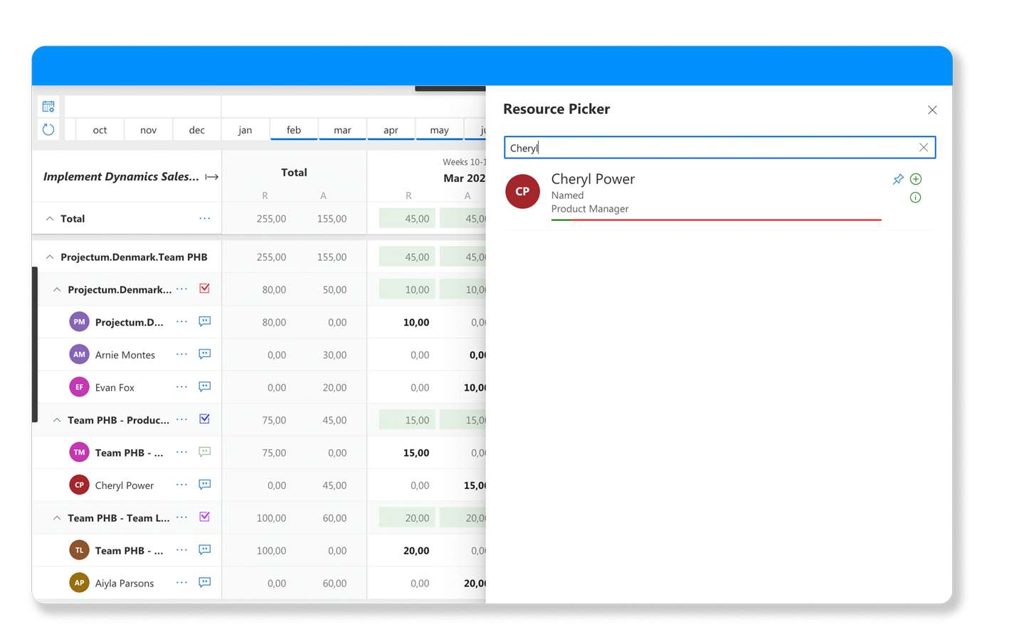 Allocation view inside Team Planner