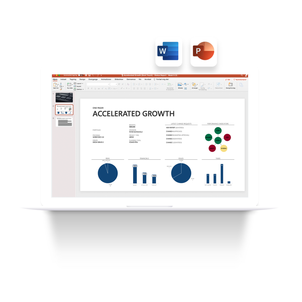 Status reporting presentation in PowerPoint